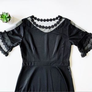 2/$15 Fashion Black Mesh and Floral Lace Dress